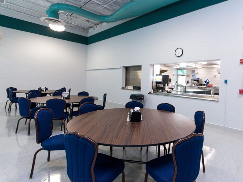 Inside the cafeteria at Bradford Recovery
